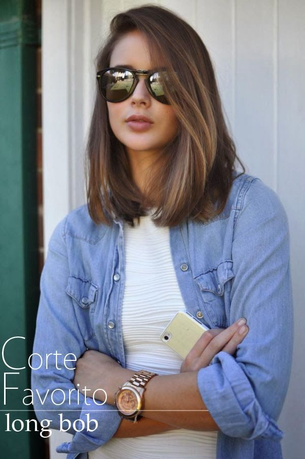 a long Bob, it looks like she has highlights in her hair! love it