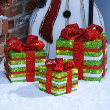Let your holiday spirit sparkle with our Pre-Lit Striped Red and Green Sisal Gifts! #kirklands #holidaydecor #KirklandsHoliday