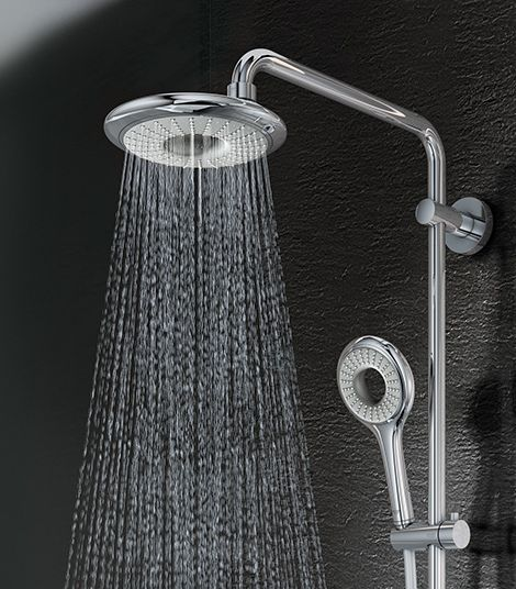 Any of these rain shower heads with handheld would work -- does not have to be a rain shower built into the ceiling of the shower.