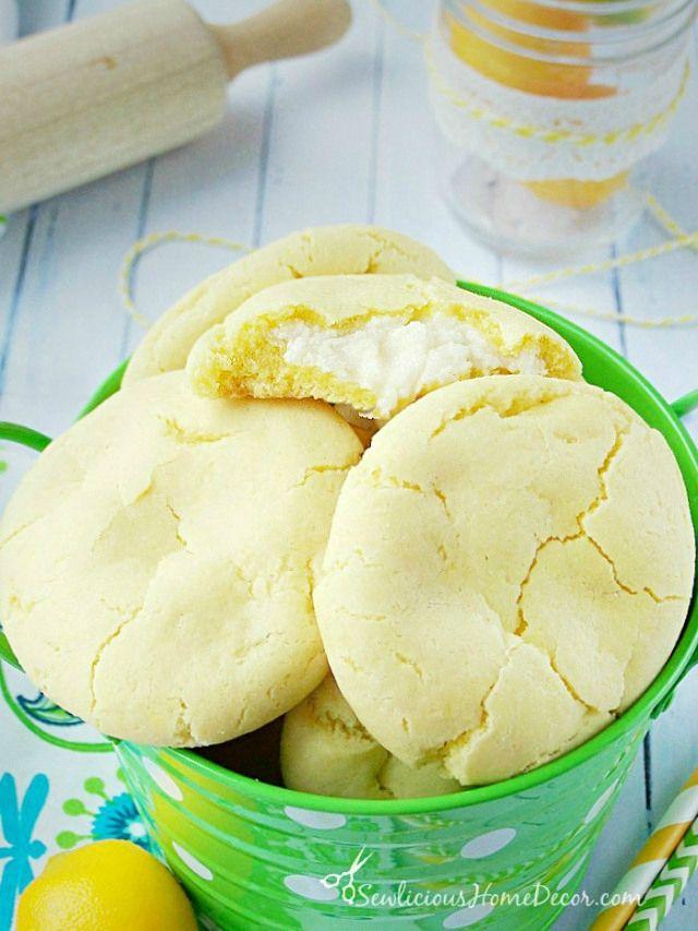 A bucket full of Citrusy Lemon Pudding Cheesecake Cookies at sewlicioushomedecor.com  Lemon Pudding Cheesecake Cookies