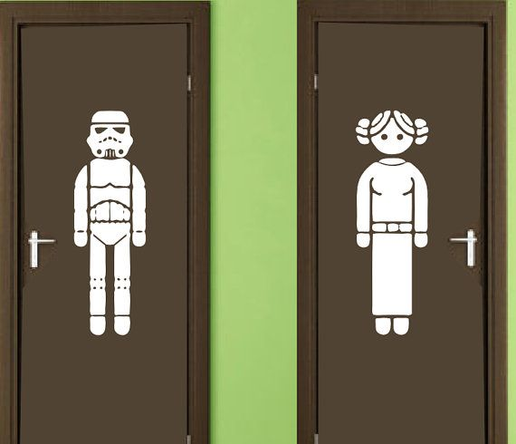 Vinyl Wall Decal Sticker Restroom Sign Star Wars by ALLSTICKERS