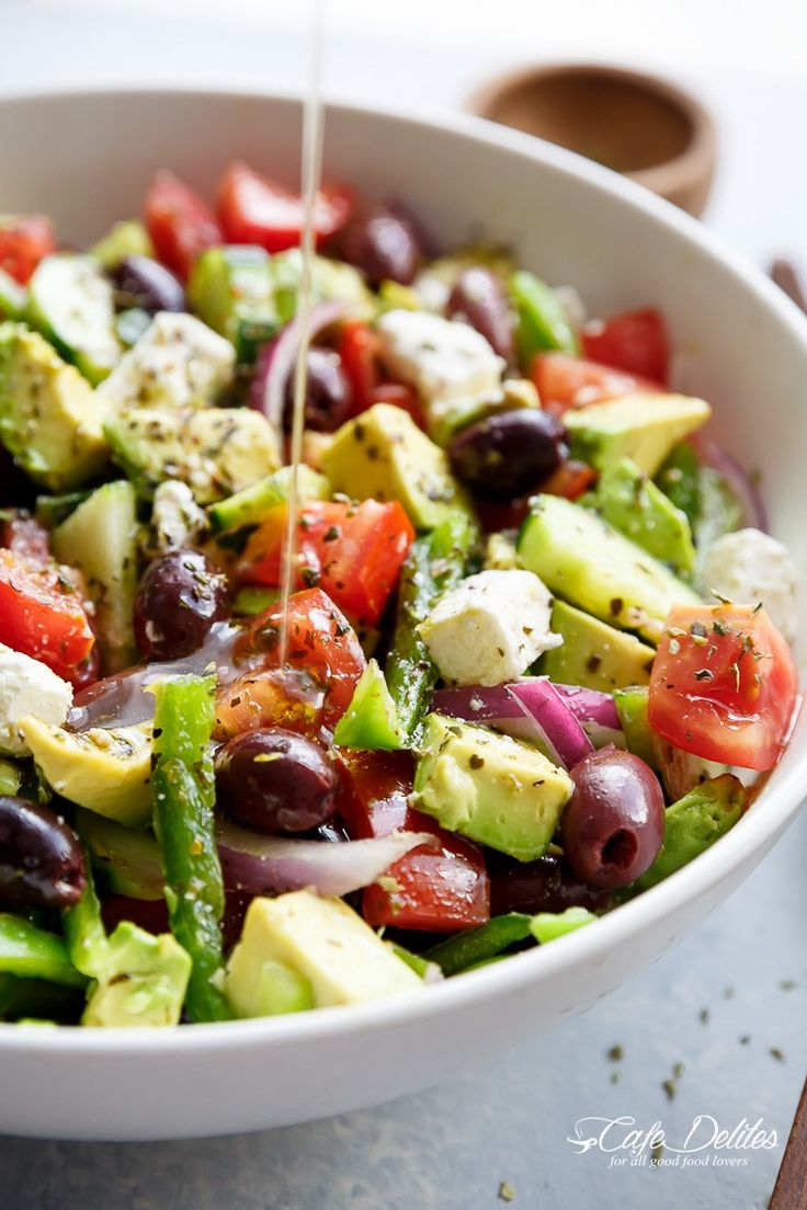 Avocado Greek Salad with a Greek Salad Dressing is a family favourite side salad served with anything! So versatile, serve it with anything!
