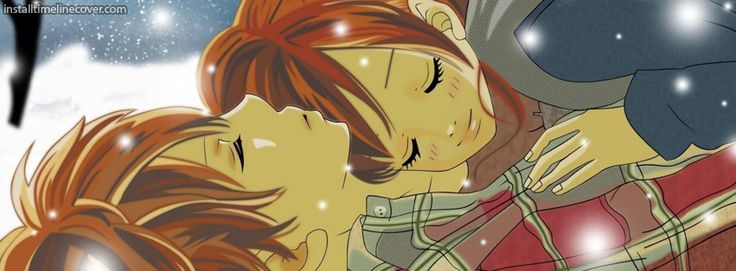 Anime couple cuddling in snow Facebook Cover InstallTimelineCover.com