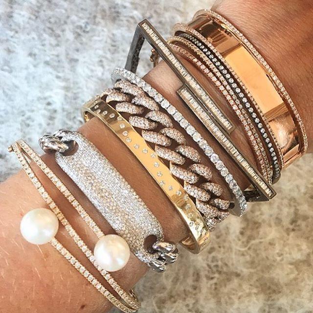 THE ULTIMATE STACK #shayjewelry , armparty, diamonds, stacks, id bracelet, link bracelet, square bracelet, pearls, nameplate bangle