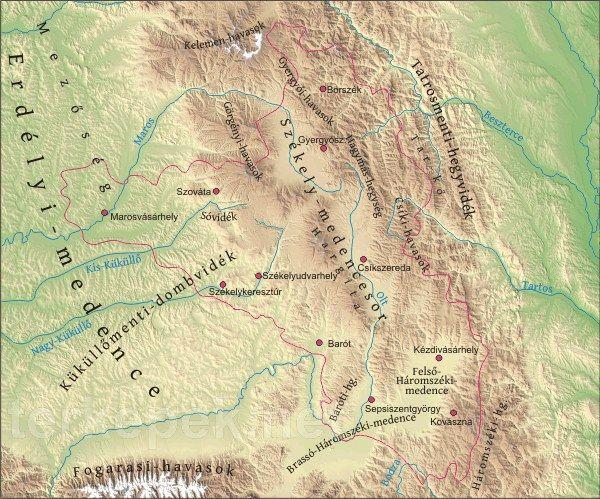 Székelyföld térkép