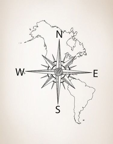 - Decal #6018 - Featuring North and South America Map with Compass. - Different sizes are available. Email us and we will give you a fair price. - Some wall decals may come in multiple pieces due to t
