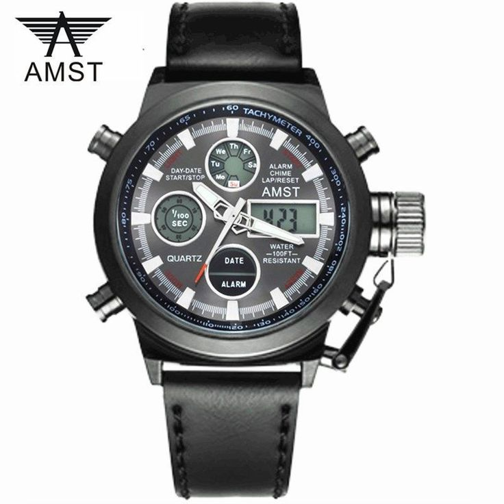 Male Sport Military Wristwatche New AMST Watches Men Luxury Brand 5ATM 50m Dive LED Digital Analog Quartz Watches //Price: $29.98 & FREE Shipping // #hashtag2