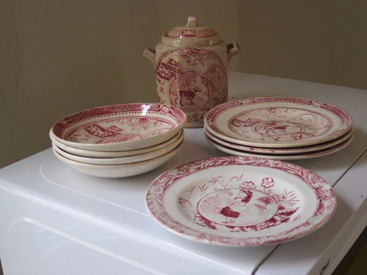These are some Staffordshire childs plates and bowls with a buiscuit jar with lid. They all have the dog pattern except for one plate has the girls with eggs. Three of the small bowls have minor edge chips. | eBay!