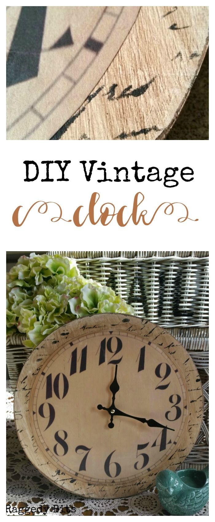 After damaging a clock at a market I couldn't let it go to waste. So armed with some mod podge, a script stencil I set about this Vintage Clock save | Full tutorial | www.raggedy-bits.com