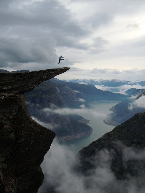 Trolltunga by Opplev Odda Hardanger      Trolltunga is a piece of rock that stands horizontally out of the mountain above Skjeggedal in Odda, Norway. The name translated to English is The Troll's tongue.