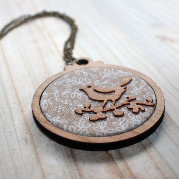 Kosbaar |Pendant | Timber & fabric inlay | Natural with white filigree pattern | Timber veneer bird detail  | Handmade in Cape Town, South Africa