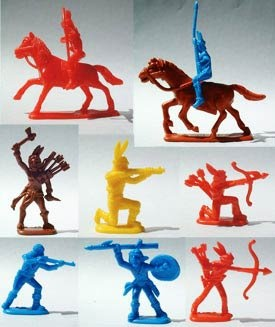 Cowboys and Indians....my brothers and I played with these all the time.  Mary