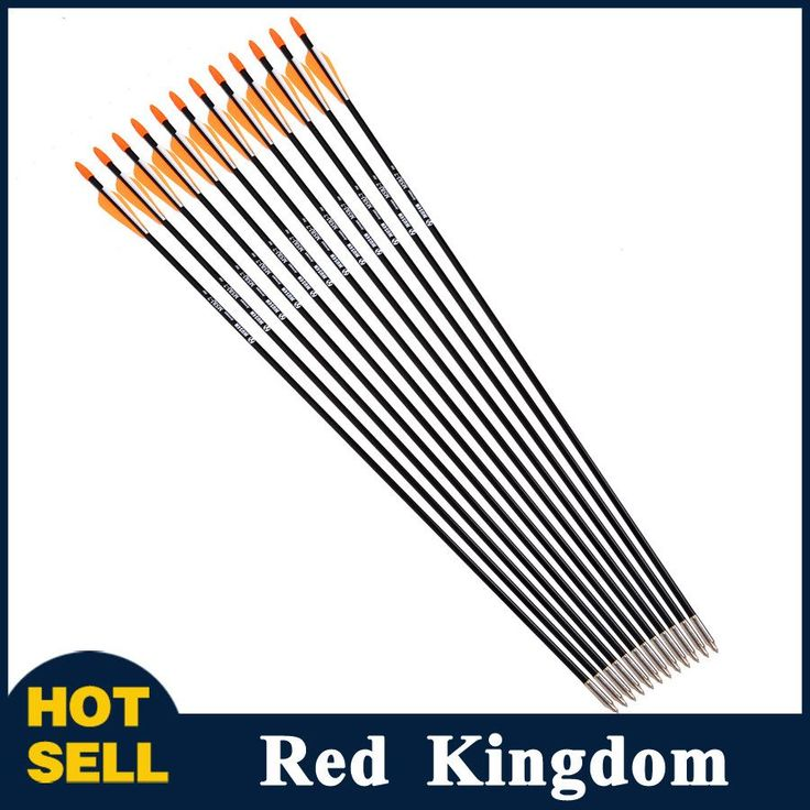 "12pcs 31"" Spine 700 with Orange Feather Fiberglass Arrow for Recurve Bow Arrow or Long Bow Practice or Hunting"