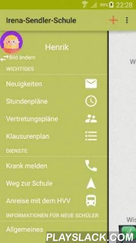 Irena-Sendler-Schule Hamburg  Android App - playslack.com , Lade dir jetzt die App der Irena-Sendler-Schule kostenlos herunter und bleibe immer auf dem neusten Stand: * News der Schule* Dein aktueller Vertretungsplan* Lade dir deinen Klausurenplan herunter* Sieh' dir deinen Stundenplan an* Melde dich Krank* Erfahre mehr über die Irena-Sendler-Schule* Finde deinen Weg zur SchuleDie App ist werbefinanziert, lässt sich jedoch durch einen einmaligen In-App-Kauf in eine Premium-Version ohne…