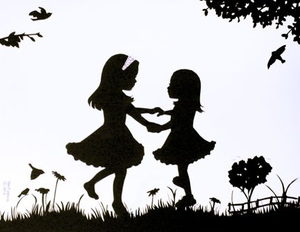 girls dance in field