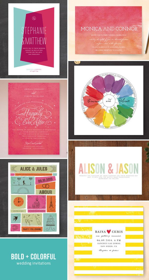Bold + Colorful Wedding Invitations from Minted