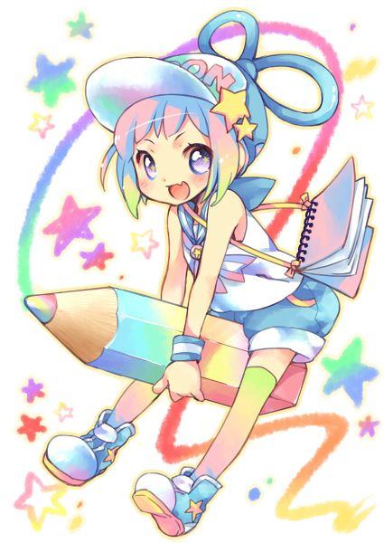 ANIME ART artist. . .pencil. . .rainbow. . .colorful ...