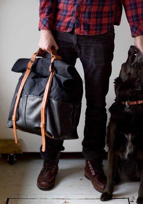 The HotShot Large Weekender Bag Backpack in Leather and Waxed Canvas with Oiled Leather Straps - Jet Black with Tan Straps Unisex