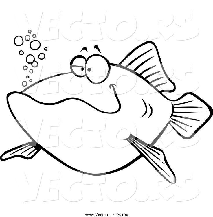 Vector Of Cartoon Happy Fish Outlined Coloring Page Id 84976