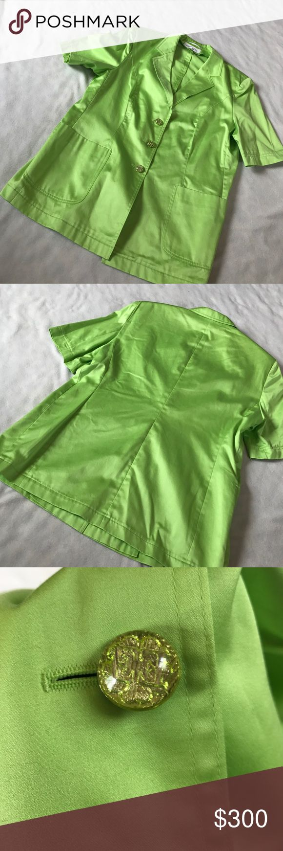"""Escada Green Short Sleeve Vintage Long Jacket 29"""" length 20.5"""" armpit to armpit. Lime green color. Short sleeve. Clear green buttons up the front with an E on them. Has shoulder pads. Is a 44, which is an M/L. Excellent condition. Great statement piece. Bundle 2+ items for a discount. Escada Jackets & Coats Blazers"""