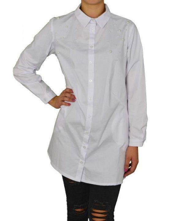 Γυναικεία Oversized πουκαμίσα Coocu λευκή με πέρλες 25904 #γυναικείαπουκάμισα #ρούχα #στυλάτα #fashion #μόδα #γυναίκες #βραδυνά #μεταξωτά