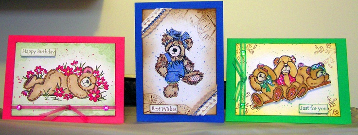 3 Teddy Bear cards using Kaszazz exclusive new Alcohol Ink Art Markers, with Distress Inks.