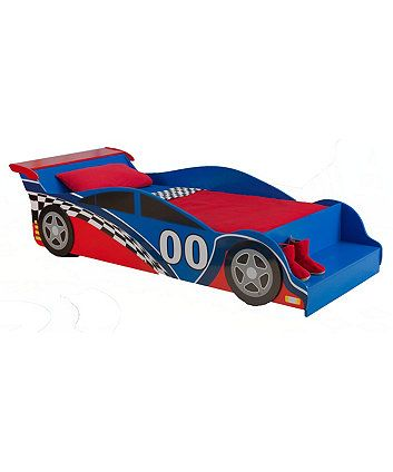 Fun, colorful racecar artwork on the Race Car Toddler Bed for children.