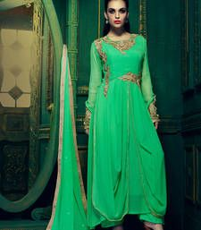 Buy Green Georgette embroidered semi stitched salwar with dupatta party-wear-salwar-kameez online