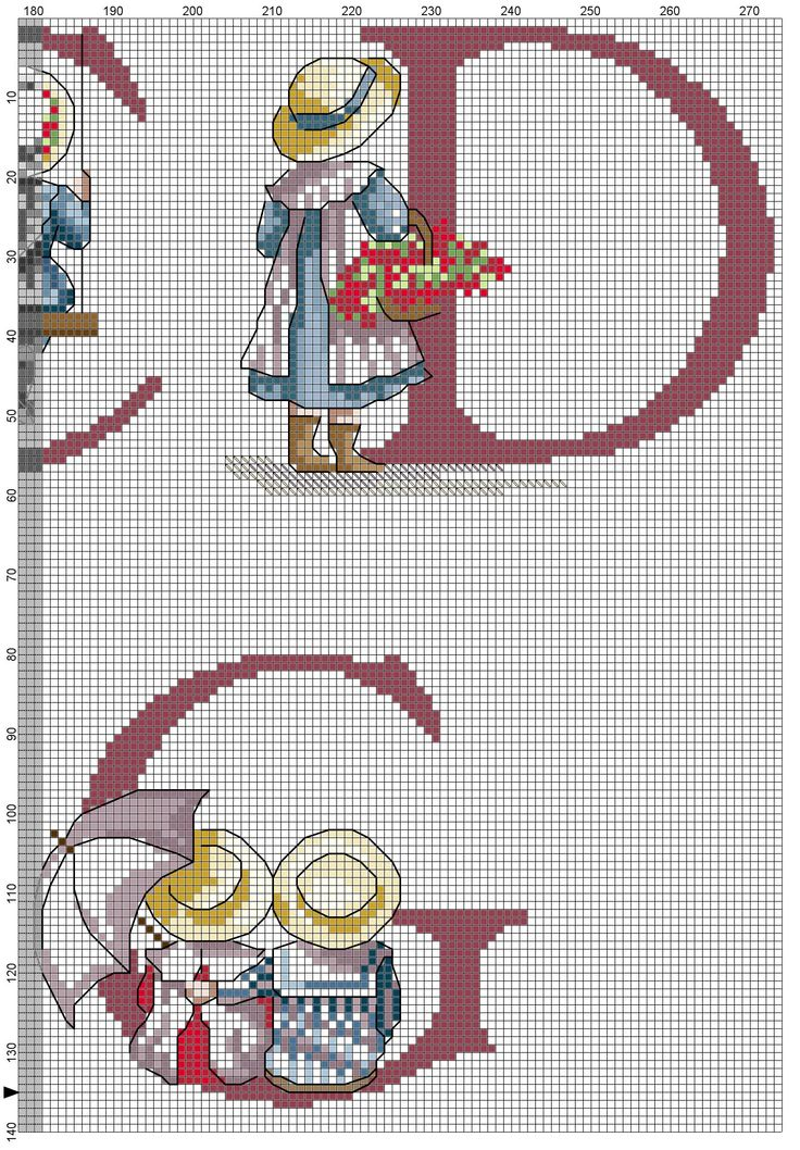 Cross stitch / Point de croix / Punto cruz / Punto croce  All Our Yesterdays ABC Sampler / abecedaire / abecedario / alfabeto.  Chart with only color blocks