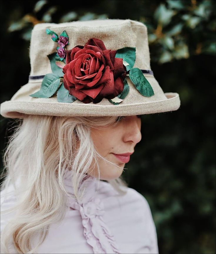 Red Rose Country Hat for Women, Vintage English Countryside Fashion, Natural Linen Hand Sewn Hat, Summer Garden Party Hat, Travel Beach Hat – Women's jewelry and accessories