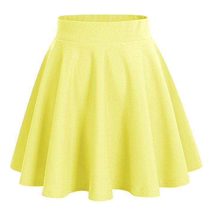 Dresstells Damen Basic Solide vielseitige Dehnbar Informell Mini Glocken Rock Gelb S