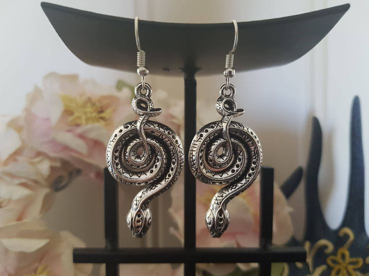 Tibetan Silver Snake Earrings by LykoCrafter on Etsy