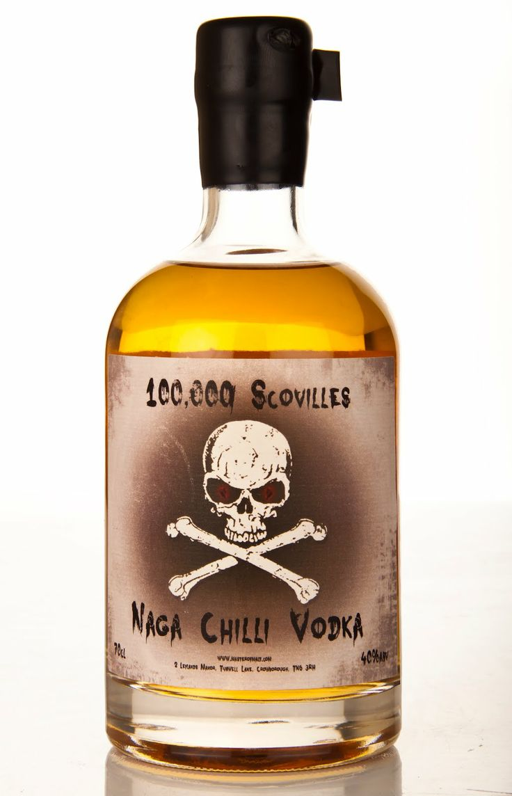 Naga Chilli vodka - 100,000 Scovilles! Such a pungent nose of chilli, it makes your eyes water just sniffing it.