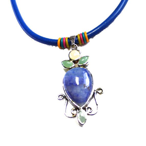 Denim Leather Choker Pendant Necklace Natural Gems Pendant