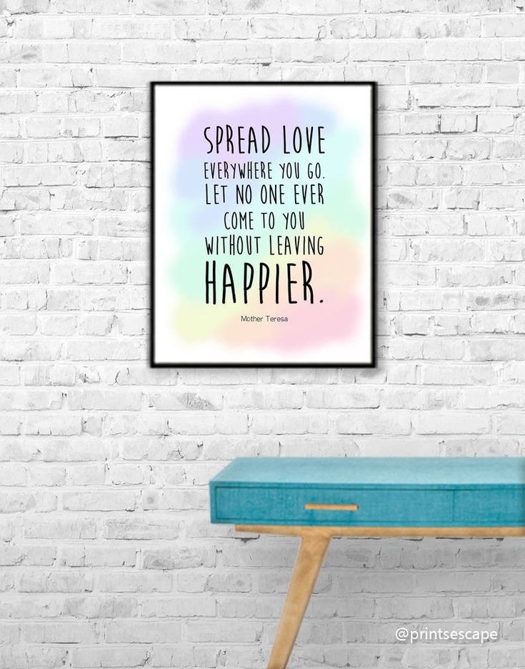 Mother Teresa Quote, Printable Wall Art, Sayings and Quotes Prints, Rainbow Prints, Happy Quotes, Spread Love Quote, Inspire Quote Art, JPG by PrintsEscape on Etsy