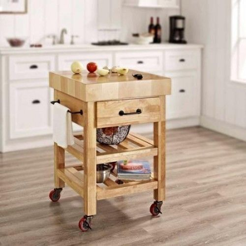 Butcher Block Kitchen Cart Rolling Island Storage Wood Table Top Cutting  Board