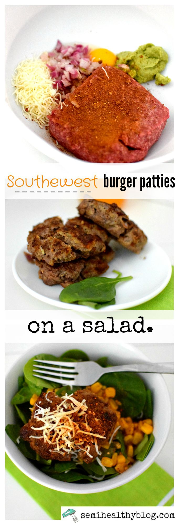 southwest burger patties on a salad for food prep via @semihealthnut at semihealthyblog.com