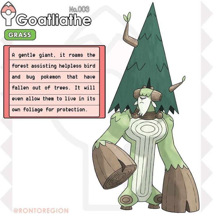 "RONTO DEX 003. Goatliathe Type: Grass Species: The giant oak pokémon Abilities: Overgrow/Leafguard H: 11' 0"" W: 620 lbs #fakemon #pokemon #pokedex #pokemonart #fakemonstarter #grassstarter #grasstype #grasspokemon #ronto #rontoregion"