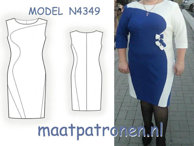 Jersey tricot jurk volslank model met visueel effect.  MODEL N4349  Maat t/m 4XL 2,99 p/patroon GEEN verzendkosten!  #maatpatronen #patronen_op_maat #banenrok #zomerjurk #gratis_patroon #damespatroon #tiener_patroon #maatpatroon #patroon_snel #jurk_patroon #kokerrok_patroon #dameskleding #jasje #volslank_patroon #grote_maat #XL #4XL