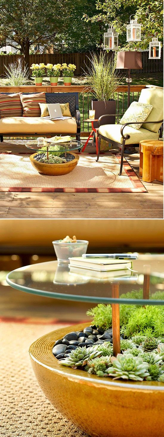 Structure a nifty table by sinking rubber-tipped copper pipe into a large, rock-filled planter holding succulents or plants that don't need a lot of water. Place at least four of the pipes at equal distances apart within the planter. Use weatherproof adhesive that works with glass and metal to secure a glass tabletop to the rubber pipes.