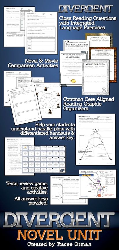 Divergent Novel Unit: Comprehension questions, reading assessments, tests, review game, reading graphic organizers, movie vs. book comparisons, research project, vocabulary & language activities, bookmarks, and more! All aligned to the Common Core State Standards.
