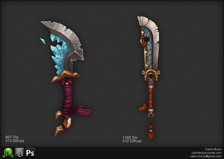 3D WoW-styled weapons.