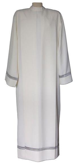 Alba de poliéster color crema decorada con vainica / Liturgical polyester alb (1/2). http://www.articulosreligiososbrabander.es/alba-liturgica-poliester-vainica-sacerdote-parroco.html #clergy #vestment #priest