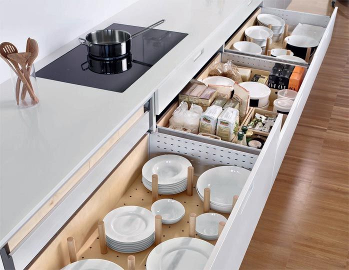 SANTOS kitchen   Keep dishes tidy. 81 cm high base unit with 65 cm deep drawers. In the second level drawers, the plate rack helps to keep dishes tidy and the modular boxes help organise the food.