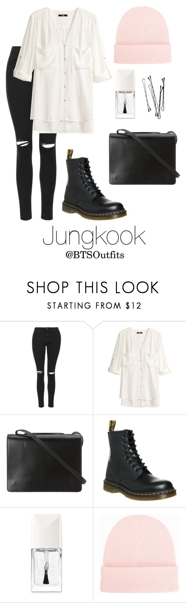 Spring Outfit Inspired by Jungkook by btsoutfits on Polyvore featuring H&M, Topshop, BCBGMAXAZRIA, NLY Accessories, Dr. Martens and Christian Dior