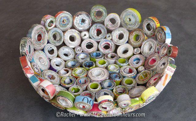 vide poche en rouleaux de papier façon quilling