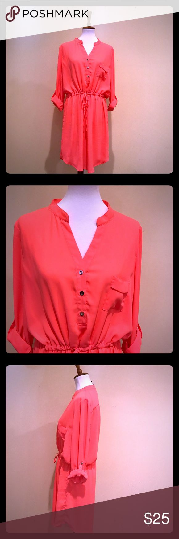 Coral Shirt Dress with Tie at Waist Light weight shirt dress. Ties at waist, Sleeves can be worn rolled or down. Gently Worn Dresses Mini