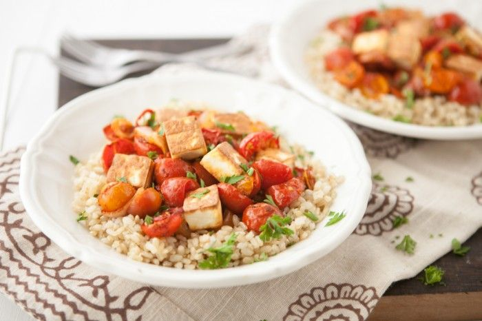 Roasted Curried Tomatoes with Fried Paneer and Rice -- i love the ...