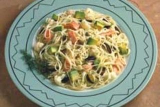 Angel Hair Pasta with Salmon and Avocado