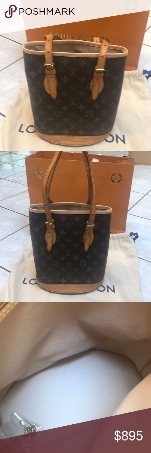 EUC LOUIS VUITTON BUCKET BAG - BAG AND DUST BAG ABSOLUTELY 💯 percent authentic Louis Vuitton bucket bag in excellent condition. Slight coloration on handles from use - inside pristine - COMES WITH DUST BAG AND LOUIS VUITTON STORE BAG- please ask questions- this bag is in amazing shape! Louis Vuitton Bags Shoulder Bags